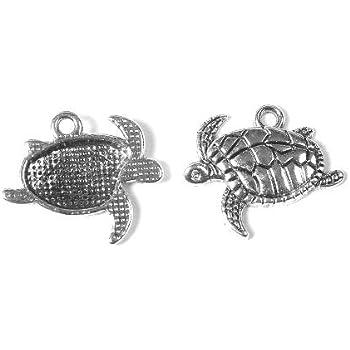 Charming Beads Pacco 10 x Argento Antico Tibetano 24mm Ciondoli Pendente Tartaruga