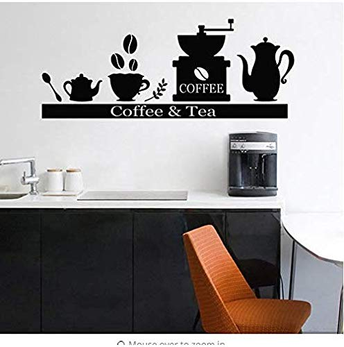 Muursticker Art Koffiemachine Behang Applique Tea Cup Houder Wijn Rack Vinyl Afneembare Koffie Stijl Muurdecoratie Bar Cafe Keuken Decoratie Ay848 57X23Cm