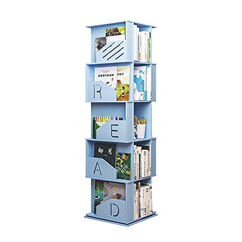 LBMTFFFFFF Nieuwigheid Boekenplank Boekenplank 5 Tiers Hout Plastic Boekenplank 360 ° Roterende Boekenkast Opbergplank Display Organizer voor Slaapkamer, Thuis en Kantoor Boekenkasten, Blauw