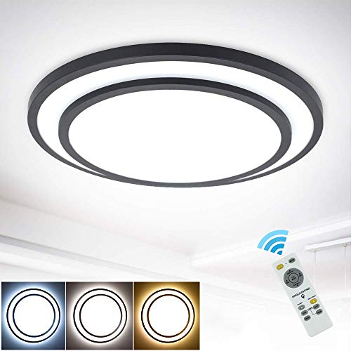 Depuley - Plafón LED regulable, 48 W, con mando a distancia, diseño...