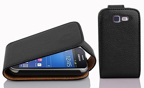 Cadorabo Custodia per Samsung Galaxy Trend Lite in Nero Profondo - Protezione in Stile Flip di Similpelle Strutturata - Case Cover Wallet Book Etui