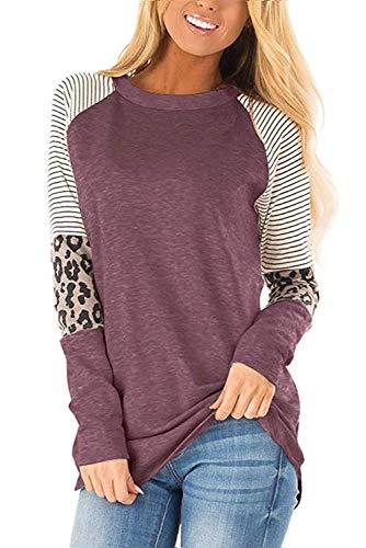 QAKEHU Damen Langarmshirts Rundhals Leopard Color Block Bluse Tunika Tops T Shirt Maroon XXL