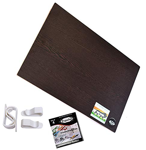 """POPULAR Multipurpose Lap Board – 16""""x 24"""" - 8mm Thick – Both Side Laminated Surface – for Laptop, Students, Reading, Writing – 4 Board Clips Free (Design 1, Dark Wenge)"""