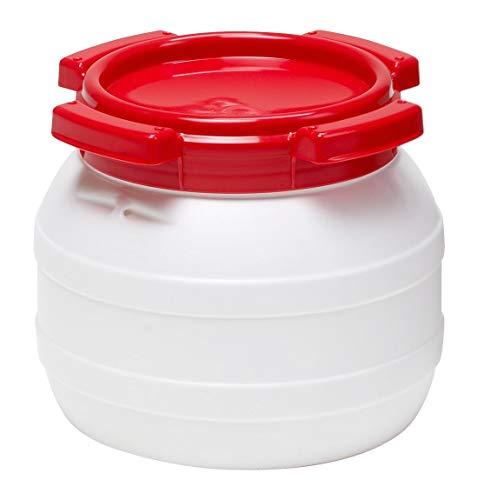 Curtec HDPE Weithalsfass, stapelbar, wasserdicht, temperaturformbeständig bis 80°C, mit rotem Schraubdeckel, Gummidichtung, naturweiß, 3,6 Liter