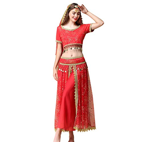 Belly Dance Costume Bollywood Dress Indian Halloween Chiffon Dance Outfit Costumes with Head Veil for Women(Red,X-Large)
