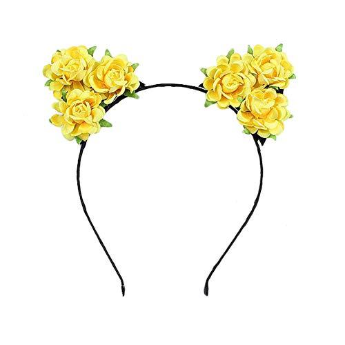 Hacoly Blumen Haarschmuck Katzenohren Haarreif Simulierte Rose Weihnachts-Haarschmuck Haarreifen Mit Ohren-Gelb