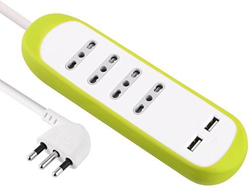 Electraline 62062 Multipresa 4 Posti Bivalenti 10/16A e 2 USB 2.1A con Copertura Protettiva e Antiscivolo di Silicone, Verde