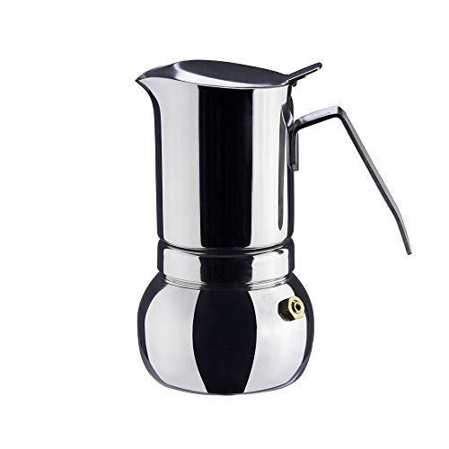 Début - 304 Stainless Steel Italian Espresso Coffee Maker, Stovetop Moka Pot, Greca coffee maker, Latte Cappuccino Percolator for Full Body Coffee, 6 Cups