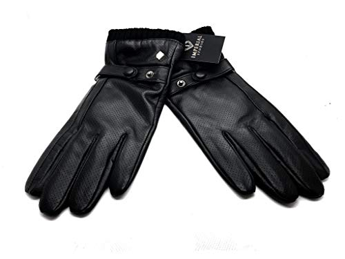 Imperial Studios Marco Mens Beautifully Pleats Warm Winter Touch Screen Gloves for Driving, Cycling, Outdoor Workwear, Travel, Riding, Motorcycle, Snow/Cold Weather, Fleece Lined (M/L, Black)