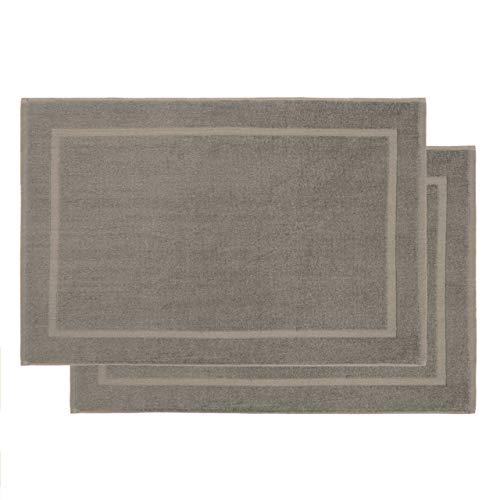 Lumaland - Badmat - Set van 2 badmatten - 100% katoen - 800g/m² 50 x 80 cm - Taupe