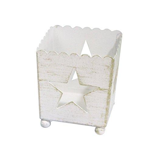 Emorias 1 Pcs Portavelas de Navidad Romantica Candelabro para Metal Escritorio Decoracion Moderno Jaulas - Blanco Estrella