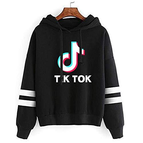 Luanda* Tik Tok Hoodie, Unisex Hooded Sweatshirt, üBergroßEr Pullover, Langarm-Hoodie Mit 2 Taschen, 1gift Verschenken/Black/L