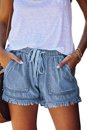 HVEPUO Frauen Mid Length Shorts Jeansshorts Wide Leg Jeans Shorts Hohe Taille Sexy Kurz Hosen mit Quaste Navy blau M