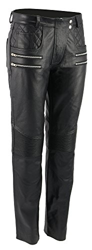 M Boss Motorcycle Apparel BOS26500 Ladies Black Vixen Leather Motorcycle Pants with Quilted Belt Detailing - 2