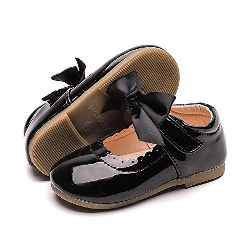 E-FAK Baby Girls Mary Jane Flats with Bowknot Non-Slip Toddler First Birthday Outfit Girl First Walkers Princess Wedding Dress Shoes(5 Toddler, H/Black)
