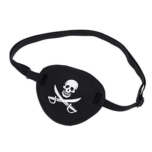 Wakauto Weiche Bequeme Schwarze Piraten-Augenklappen-Augenmaske für Kinder mit Verstellbarem Riemen Einer Augenschädel-Piraten-Augenmaske Und Gekreuzten Knochen für Halloween-Party