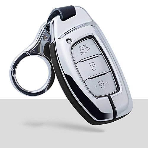 NASHDZ Cubierta de la Caja de la Llave del Coche de Cuero de aleación de Zinc, para Hyundai Verna Sonata Elantra Tucson Auto Creta I10 I20 Santa Fe2016 2017 2018