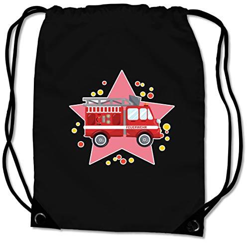 Samunshi® Turnbeutel mit Feuerwehr-Auto für Jungen und Mädchen Sportbeutel für Schule Sport Sporttasche schwarz