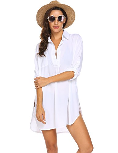 Ekouaer Women's Beachwear Bikini Swimwear Beach Club V-Neck Sexy Cover Up Skirt Bathing Suit White
