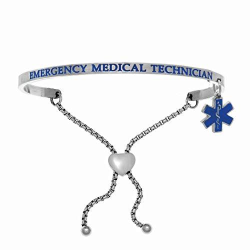 Acero inoxidable blanco 3 mm satinado 2D cuadrado Adj capaz de emergencia médico técnico en esmalte Blu brazalete apilable pulsera joyería regalos para mujeres