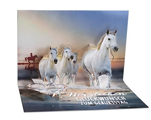 3D Pop – UP Karte Geburtstag, mit Glitter, Geburtstagskarte 3D, POP - UP Karten, POP UP Karten Geburtstag, Motiv: Pferde