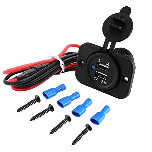 MMOBIEL Chargeur Universel USB étanche 2 Prises avec indicateur LED Bleu avec 2 Prises USB Dont 1x de Charge Rapide 2.1A 12V à Installer pour Utilisation sur Bateaux, Motos, quads, etc