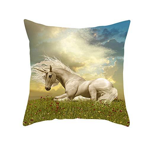 JHJFD Cojines Funda Caballo Unicornio Fundas Decorativas para 45 X 45 Cm De Almohada Cuadradas con Cremallera Invisible Sofá Cama Coche (con Núcleo De Almohada)