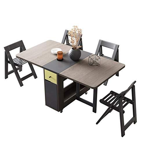 YUNLILI Conveniente Tabla de Hojas de Doble Gota de Ahorro de Espacio con 4 sillas Cocina Plegable Mesa de Comedor con 2 cajones, Ruedas de Bloqueo, 59.1'x 31.5' x 28.9'multifunción