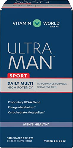 Vitamin World Ultra Man Sport Daily Multivitamin | Feat. Selenium, Vitamins B, C, E, & Magnesium | Health & Wellness Multi-Supplement for Overall Wellness for Active Men, 180 Caplets