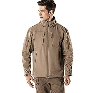 CQR Men's Tactical Softshell Detachable Hoodie Hiking Hunting EDC Lightweight Fleece Coat Jacket, Removable Hood(hok801) - Coyote, XX-Large