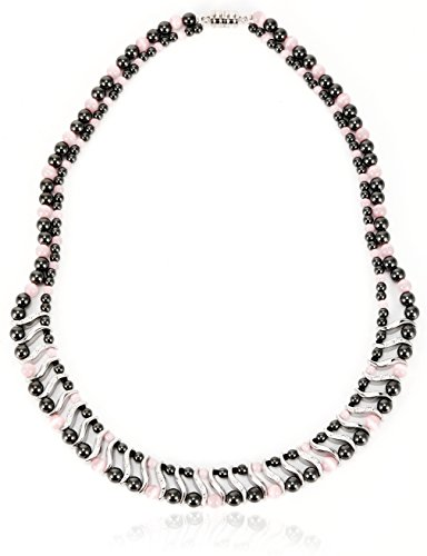 Elegant Womens Hematite Magnetic Therapy Necklace with Healing Stones Pain Relief for Neck Arthritis Migraine Headaches Shoulders and Back (Regular, Pink Cat Eye)
