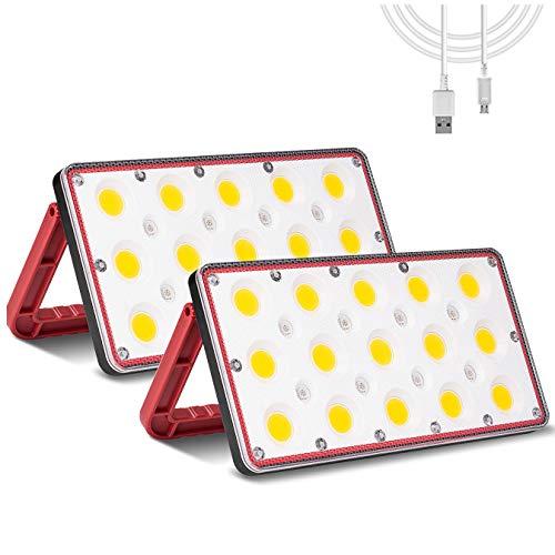 Coquimbo 24W LED Baustrahler, 1000LM LED Flutlicht Arbeitsleuchte, Wasserdicht Außenstrahler 3000K Warmweiß Scheinwerfer für Garten, Garage, Flur, Campen und Wandern (2 Stücke)
