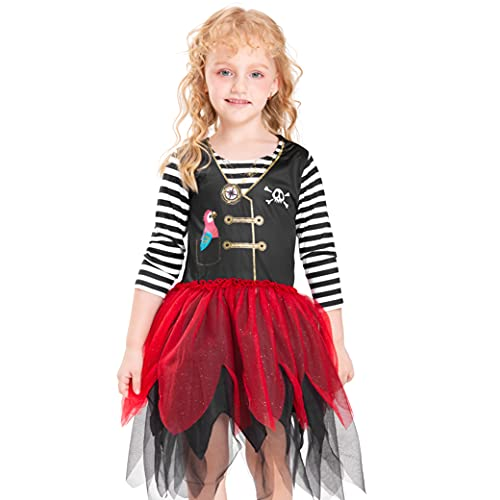 IKALI Deguisement Fille Pirate, Costume Robe de Pirat pour Enfant 4-6 ans