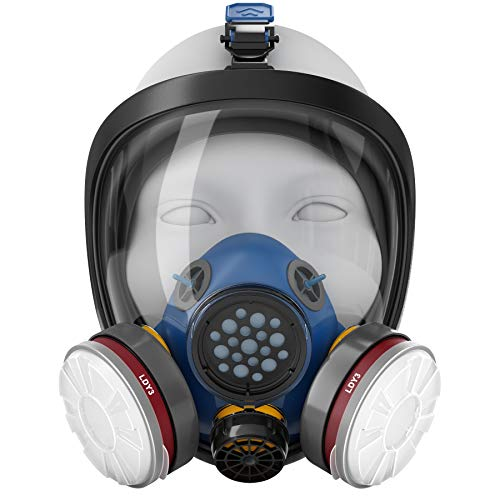 Blazin Full Face Respirator Gas Mask | Prepper Essential Protection | Tear Gas Pepper Spray Organic Vapors LDY3 Filters (2) | Paint Face Cover | Dust, Welding, Painting, Polishing, Grinding, Sanding