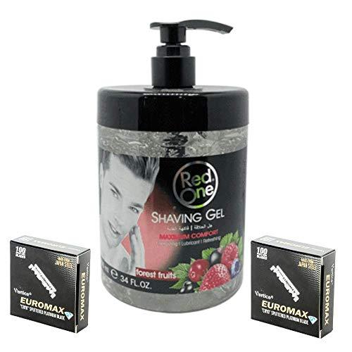 Red One gel de rasage transparent pour barbe senteur fruits des bois 1000 ml & 200 demi-lames à raser Euromax lot redone