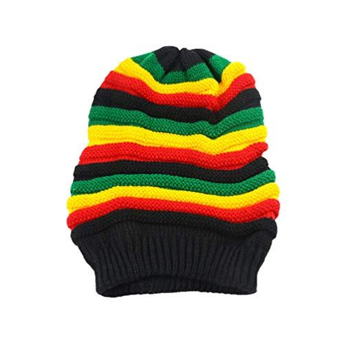 FENICAL chapeau de tricot rayé arc-en-ciel à la mode pour hommes femmes adultes (arc-en-ciel 56-60cm réglable)