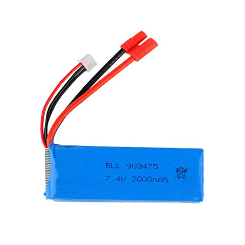 Mullue Drone Battery, 7.4V 2000Mah LiPo Battery,High Capacity Lipo Battery Compatible with Syma X8 X8C X8W X8G RC Drone Upgrade Spare Part