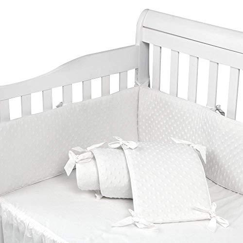TEALP Protector de Cuna, Protector Cuna Chichonera para Proteger Bebe, algodón protector para bordes, Blanco