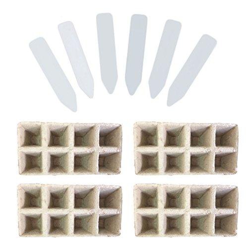 Gosear 10 PCS Pot de Plante 8-Slots Siamesed Biodégradable Pots de Démarrage Pots Germination Plants de Semences + 50 PCS Étiquettes de Plantes Blanc