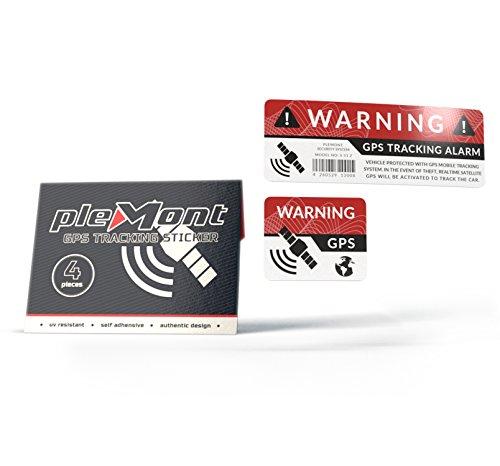 Plemont 4er Set GPS Sticker Warnaufkleber für Auto, LKW, Fahrrad als Diebstahlsicherung. Hochwertige GPS Aufkleber