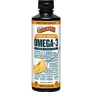 Barlean's Mango Peach Omega 3 Fish Oil Supplements - 1080mg of EPA/DHA, 600 IU Vitamin D3 for Brain, Heart, Joint, & Immune Health - Non GMO, Gluten Free, All-Natural Fruit Smoothie - 16-Ounce