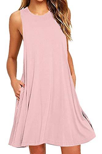 YMING Frauen Ärmellos Kleid Minikleid mit Tasche Rundhals Tunika Kleid Rosa XL