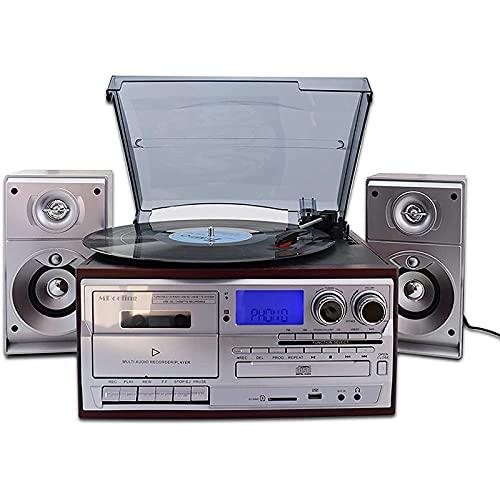 cx-kzw Tocadiscos, Tocadiscos Bluetooth con Altavoces Estéreo Tocadiscos De Vinilo Compatible con Bluetooth/CD/Pletina De Casete/Radio/Vinilo A MP3 Codificación USB / 33 45 78 RPM/Control Remoto
