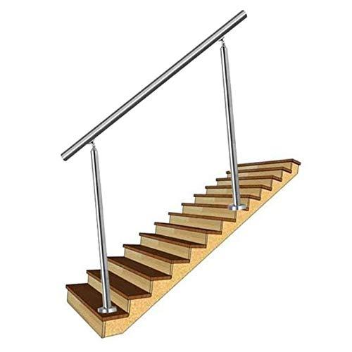 WZNING Handlaufunfall, Edelstahlgeländer für Treppen, mit 1 stücke Handlauf und 2pcs Treppenspalte, Outdoor und Indoor Guardrail für Home/Balkon/Firma/Hotel Sicher und fest, schön und modisch