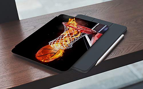 MEMETARO Funda para iPad 10.2 Pulgadas,2019/2020 Modelo, 7ª / 8ª generación,Fuego Baloncesto Llama ardiente Deportes creativos, Smart Leather Stand Cover with Auto Wake/Sleep