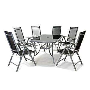 Nexos 7-teiliges Gartenmöbel-Set – Gartengarnitur Sitzgruppe Sitzgarnitur aus Gartenstühlen & Esstisch – Aluminium…