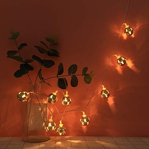 LED Lichterketten Innen Stimmungslichter, Dapei 10er Runde Kugeln aus Metall Lichterkette Warmweiß String Licht für Weihnachten Hochzeit Party Dekoration