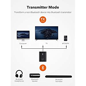 Bluetooth 5.0 Transmitter and Receiver, 2-in-1 Wireless 3.5mm Adapter (aptX Low Latency, 2 Devices Simultaneously, For TV/Home Sound System/Car/Nintendo Switch)