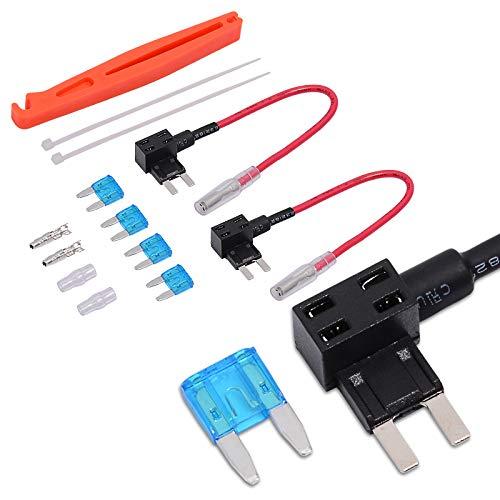 Ehdis Adaptador de Circuito de Toma de Fusible para automóvil de 12 V Adaptador de Circuito Adicional Mini ACS 15A Arnés de Cable, Paquete de 2