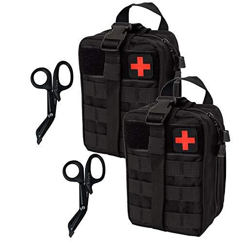 Krisvie 2Pcs Médica Bolsa Primeros Auxilios Bolsa Táctica Compacta Botiquín y el Esquileo de Los Primeros Auxilios (Negro)